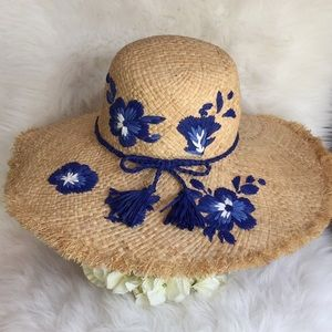 🆕Kate Spade Embroidered Hibiscus Straw Hat NWT